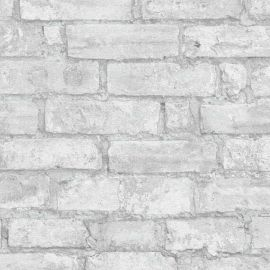 Imitations Rustic Brick Wallpaper Pale Grey