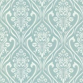 With a duck egg background and glittery white damask patterns featured throughout this wallpaper sample.