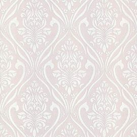 With a pink background and glittery white damask patterns featured throughout this wallpaper sample.
