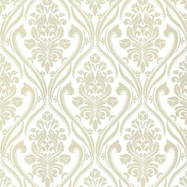 With a white background and glittery cream damask patterns featured throughout this wallpaper sample.