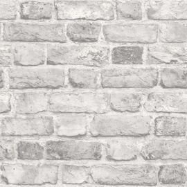 A realistic distressed grey brick wallpaper sample.