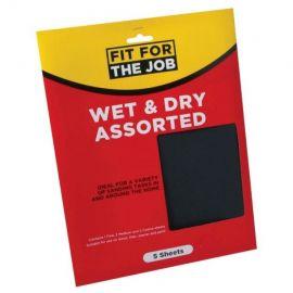 Wet & Dry Sandpaper Assorted 5 Sheet Pack