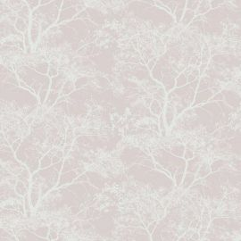 A pink background with white glittery tree silhouettes in the foreground.