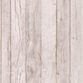 A wallpaper sample of wood panelling in a taupe colour.