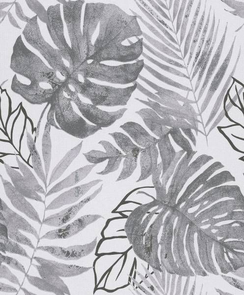Gravity Botanical Leaf Wallpaper Black White Grandeco