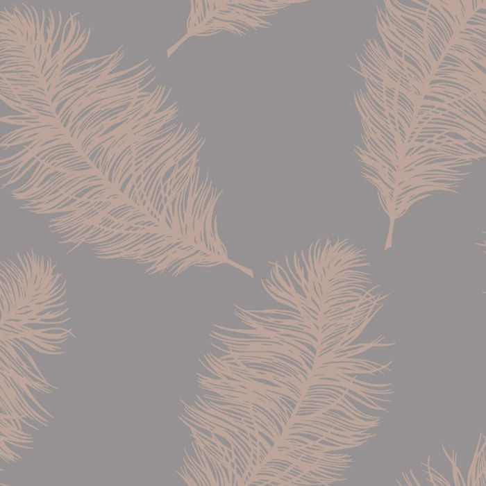 Fawning Feather Wallpaper Dark Grey Rose Gold