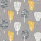 With a charcoal-coloured linen-style background and various grey, dark grey and yellow retro-style trees all over the front of this wallpaper sample.