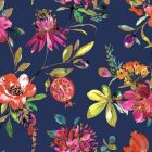 A navy blue background with brightly-coloured floral and leafy designs with hints of gold featured throughout.