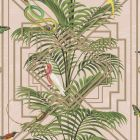 A blush pink background with geometric gold patterns and tropical plants and birds all over.