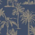 Glistening Tropical Tree Wallpaper Navy