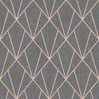 Indra Geometric Wallpaper Charcoal Rose Gold