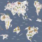 Marvellous Animals Map Wallpaper Navy