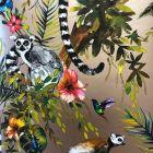 Lemur Jungle Metallic Wallpaper
