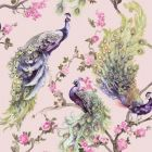Menali Glitter Peacock Wallpaper Pink