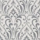 A dark grey silver damask pattern on a light grey background wallpaper sample.