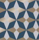 Nova Geometric Metallic Star Wallpaper Navy