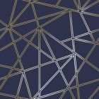 A Navy blue background with parallel double stripes of gold forming a geometric design on top.