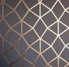 Platinum Geometric  Metallic Wallpaper Rose Gold