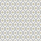 A geometric hexagon design with a white background and black lined hexagon designs with smaller gold hexagons inside.
