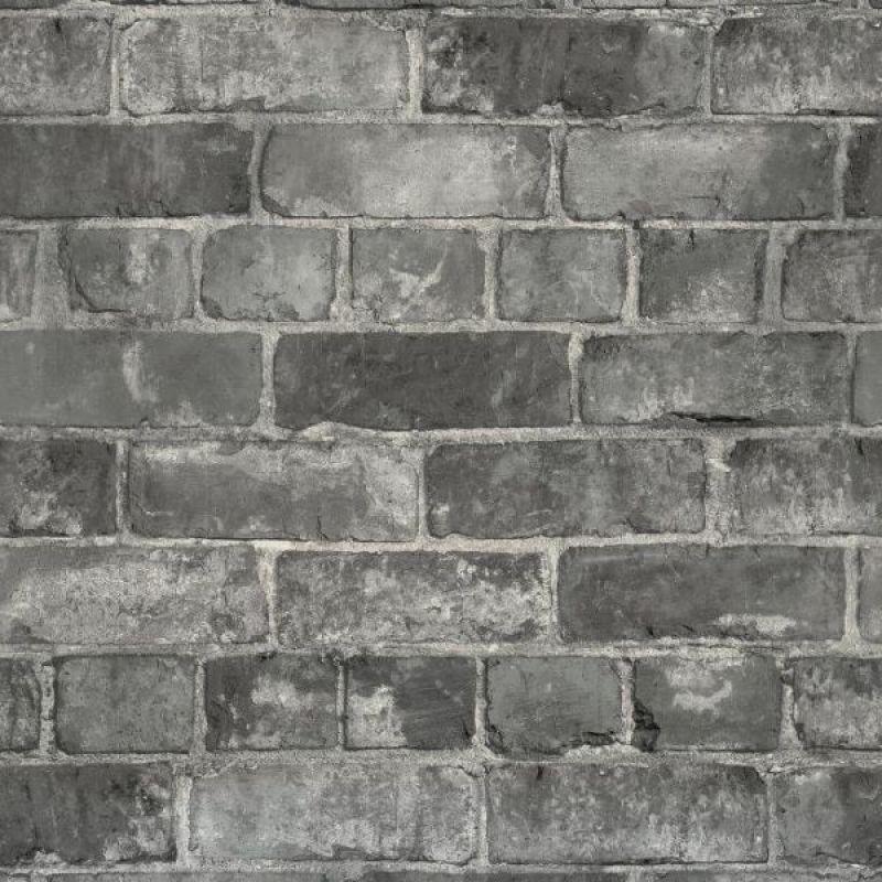 Durham Brick Industrial Wallpaper Grey