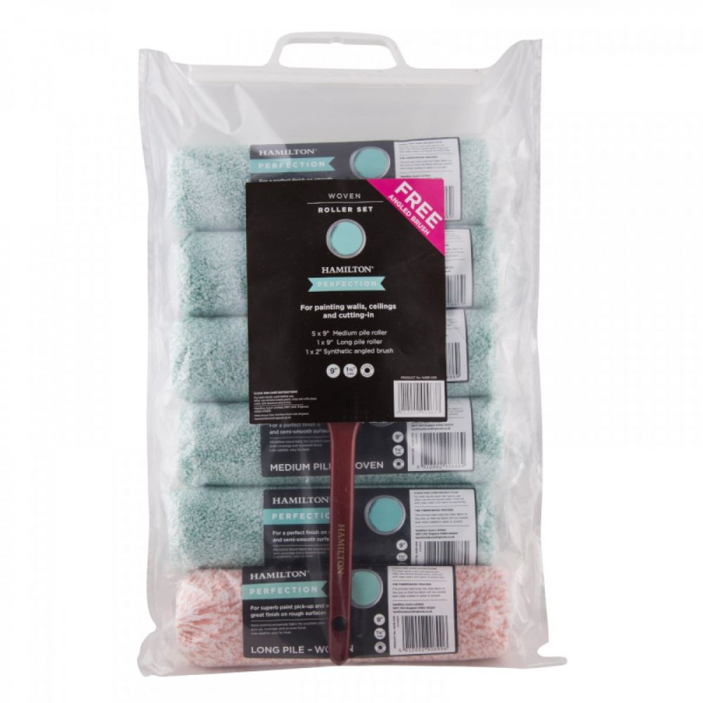"""Hamilton Perfection Woven 9"""" Roller Set with Free Angled Brush"""