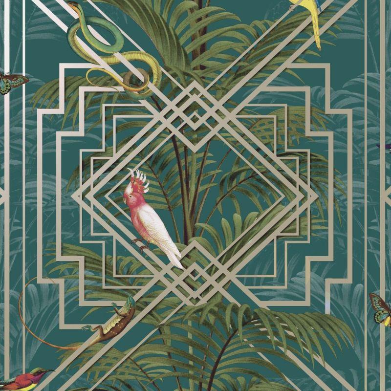 Congo Tropical Geometric Wallpaper Teal