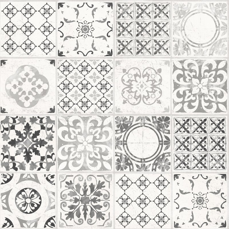 Ideco-Porto-Moroccan-Tile-Effect-Wallpaper-Grey