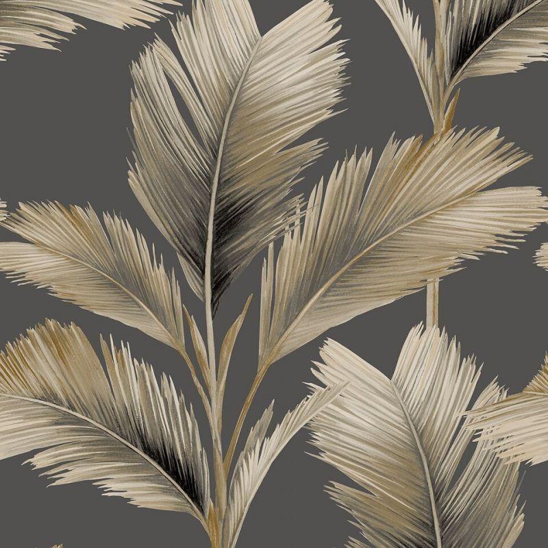 Kailani Palm Leaf Wallpaper Charcoal/Natural