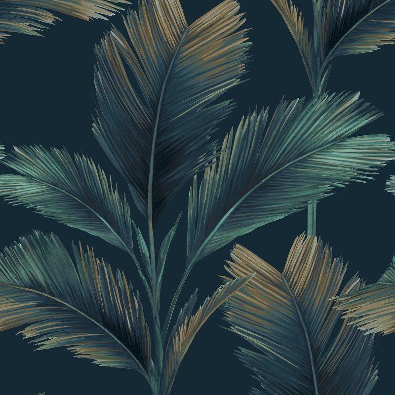 Kailani Palm Leaf Wallpaper Dark Blue