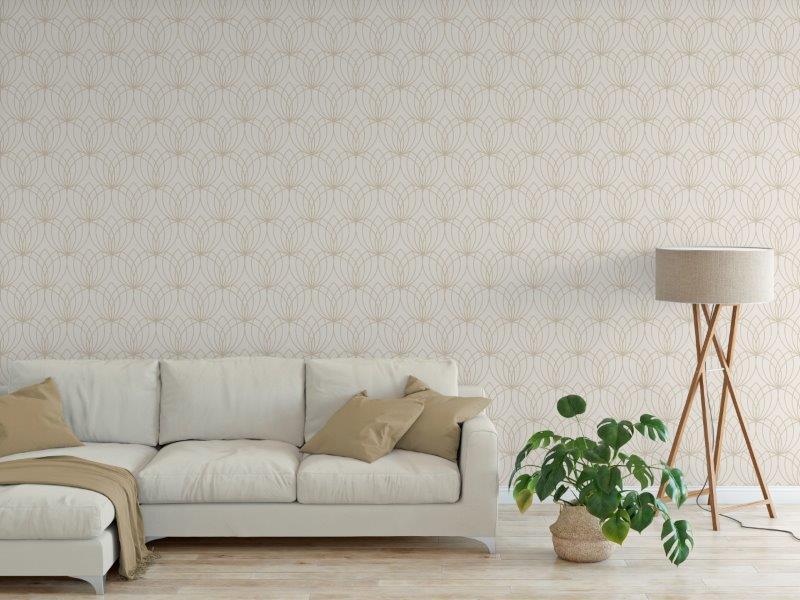 Lotus Flower Metallic Wallpaper