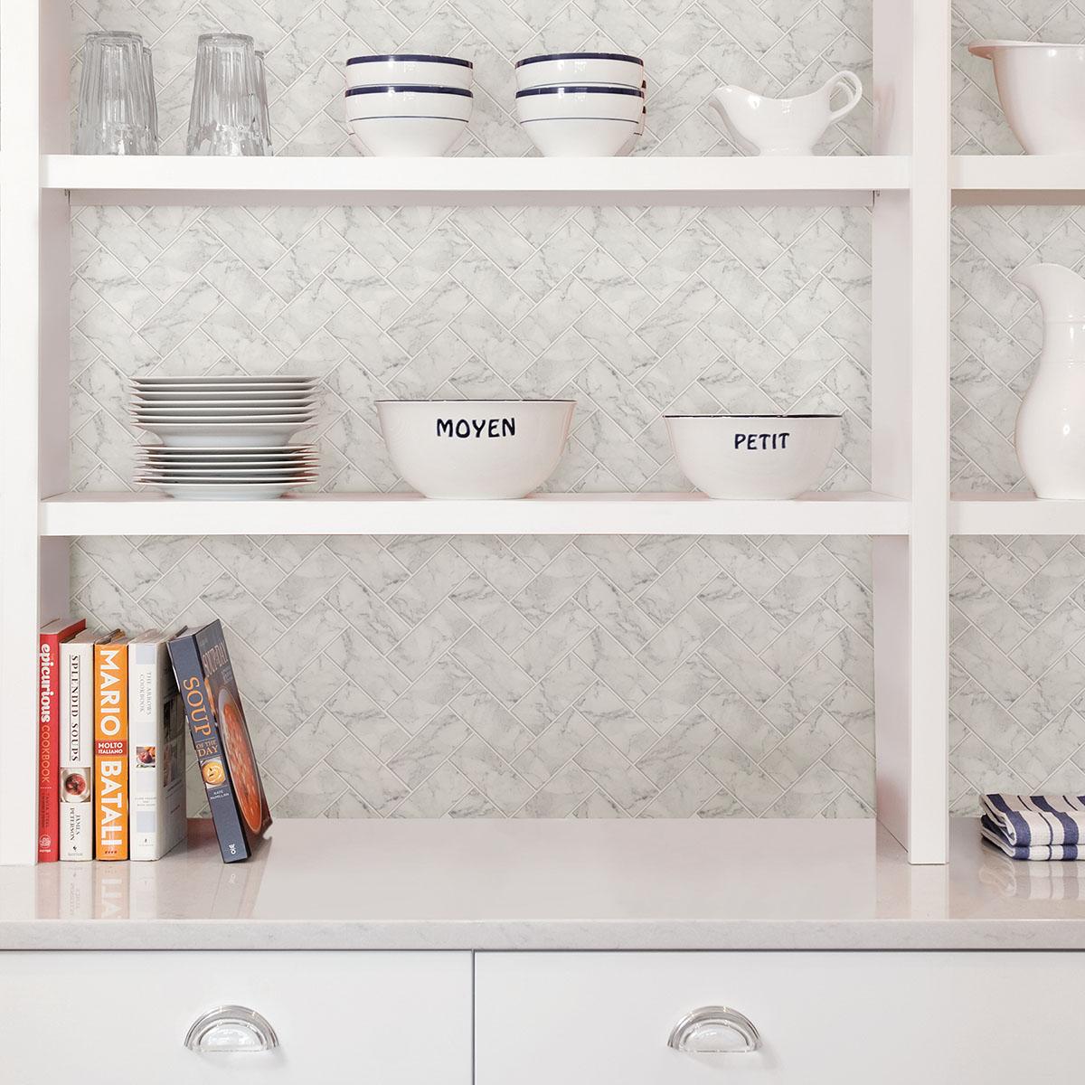 Herringbone Peel & Stick Marble Adhesive Backsplash Wall Tiles