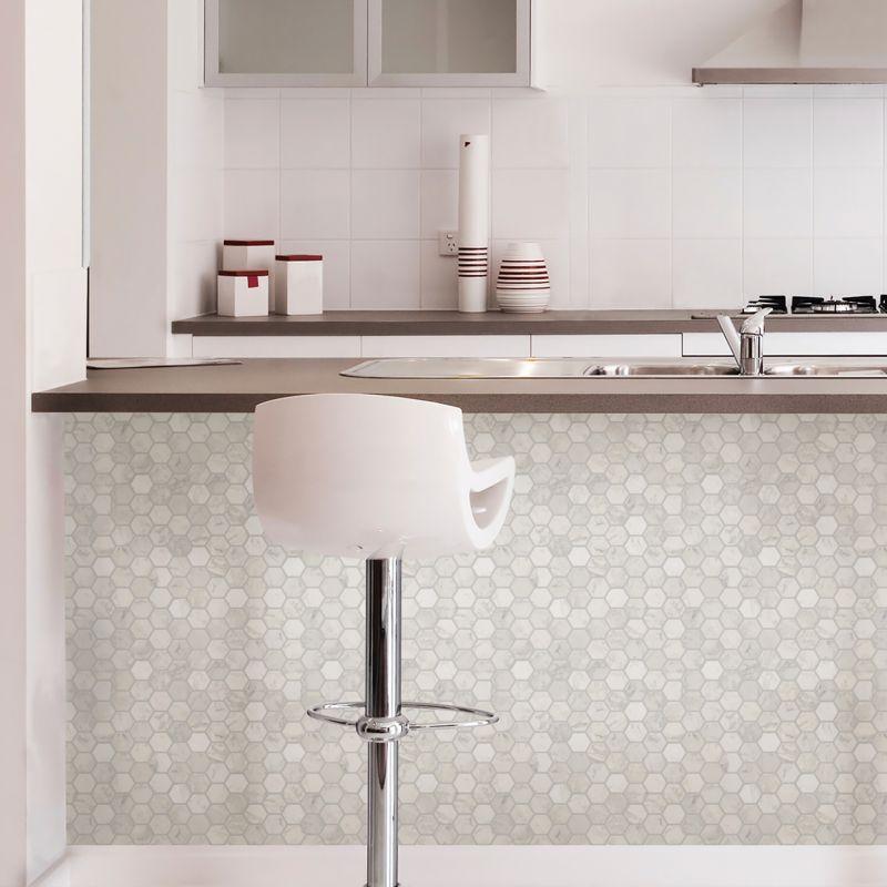 Hexagon Peel & Stick Marble Backsplash Adhesive Wall Tile