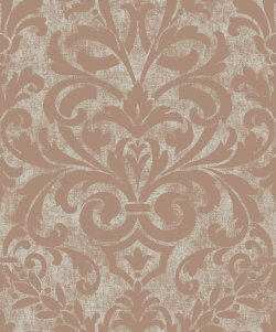 Collingwood Metallic Damask Wallpaper Rose Gold