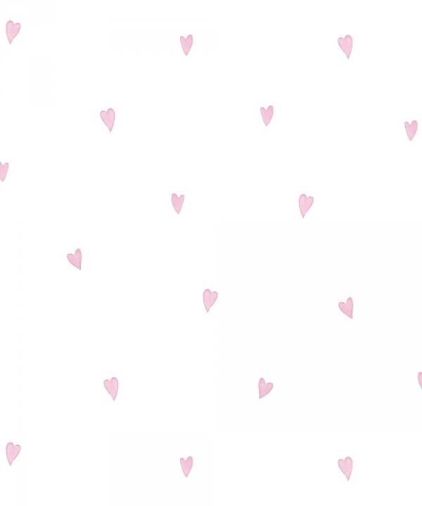 Love Hearts Childrens Wallpaper Pink White