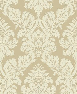 Glitter Damask Wallpaper Gold & Cream