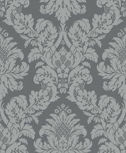 Glitter Damask Wallpaper Grey & Silver