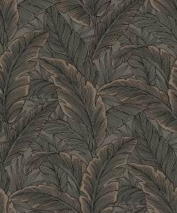 Botanical Leaf Metallic Wallpaper Copper