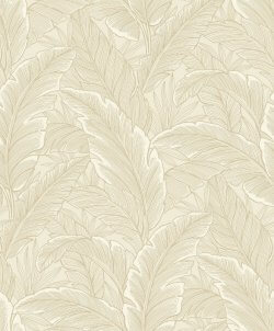 Botanical Leaf Metallic Wallpaper Cream