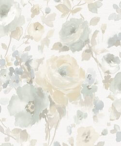 Artemissa Watercolour Flower Wallpaper Duck Egg