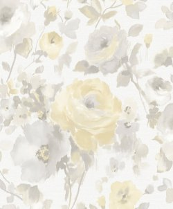 Artemissa Watercolour Flower Wallpaper Light Grey