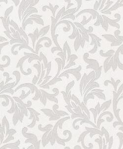 Shiny Chic Baroque Wallpaper Silver & White