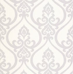 Fleur de Lis Embossed Damask Wallpaper White & Lilac