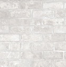 Loft Style Metallic 3D Brick Effect Wallpaper White