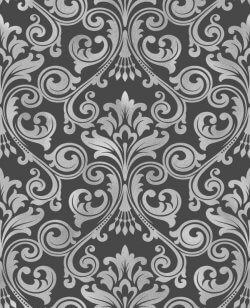 Wentworth Glitter Damask Wallpaper Black