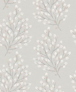 Rustic Willow Wallpaper Dove Grey & Pink