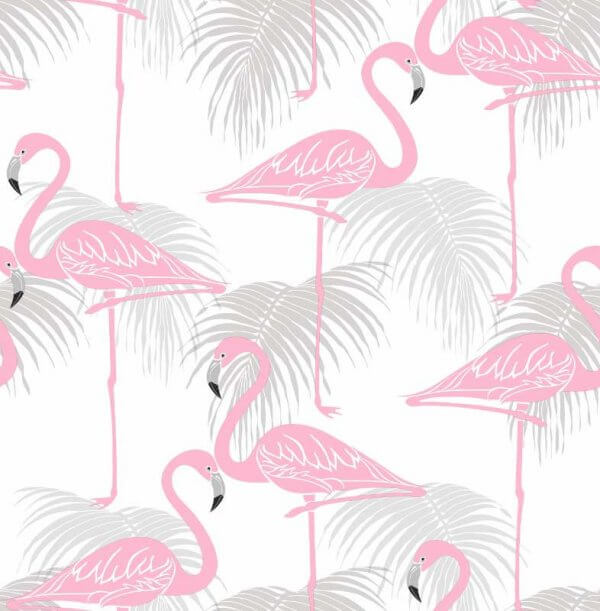 Flamingo Wallpaper Grey Pink
