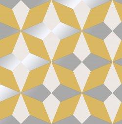 Nova Geometric Metallic Star Wallpaper Mustard