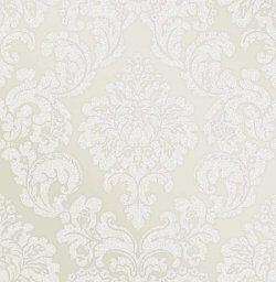 Monaco Glitter Damask Wallpaper Cream