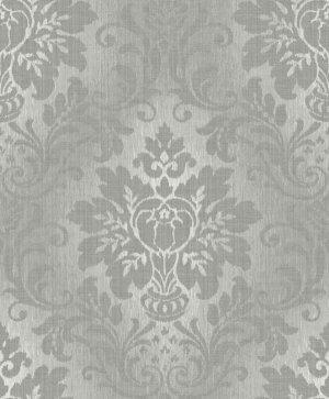 Fabric Damask Glitter Wallpaper Silver