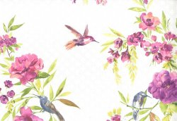 Amaya Flower & Humming Bird Wallpaper Pink & Lime